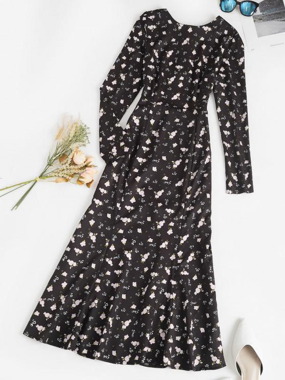 women Ditsy Print Open Back Tie Maxi Mermaid Dress - BLACK S