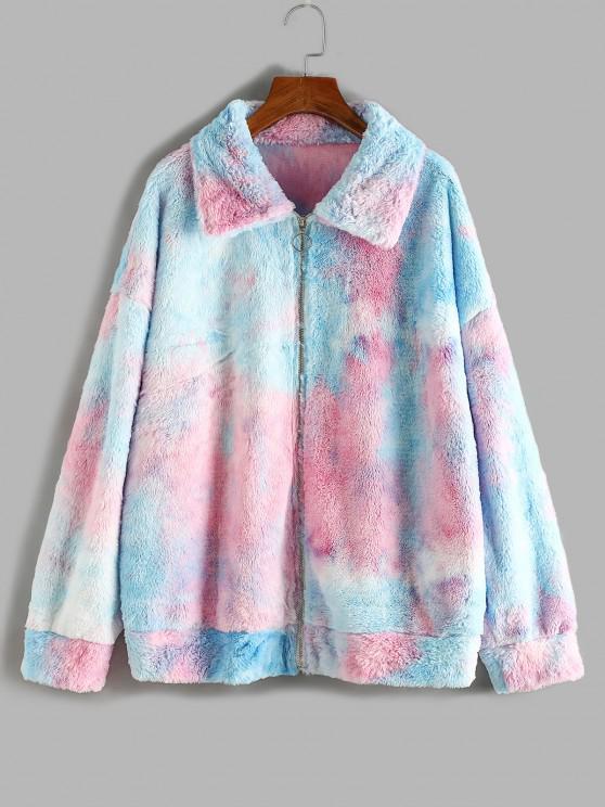 online ZAFUL Plus Size Fluffy Tie Dye Drop Shoulder Coat - LIGHT BLUE 5XL