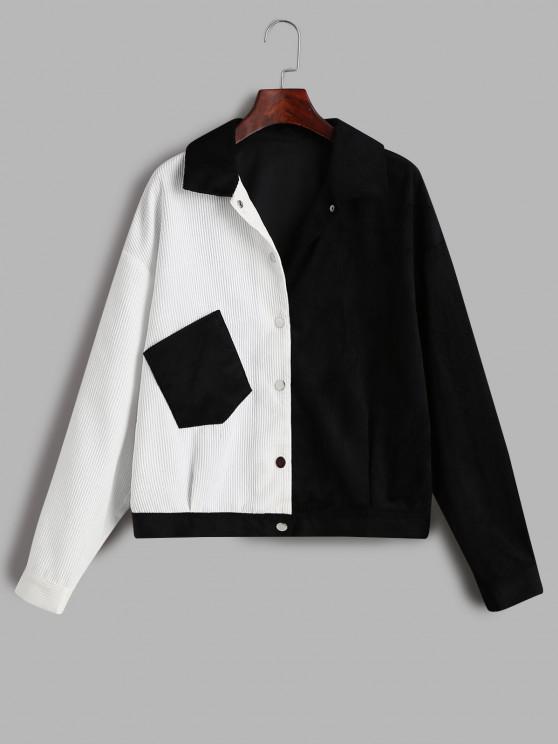outfit ZAFUL Corduroy Two Tone Pocket Jacket - MULTI-A M