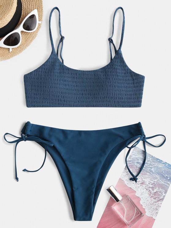 best ZAFUL Smocked Side Tie Bikini Swimwear - DEEP BLUE S