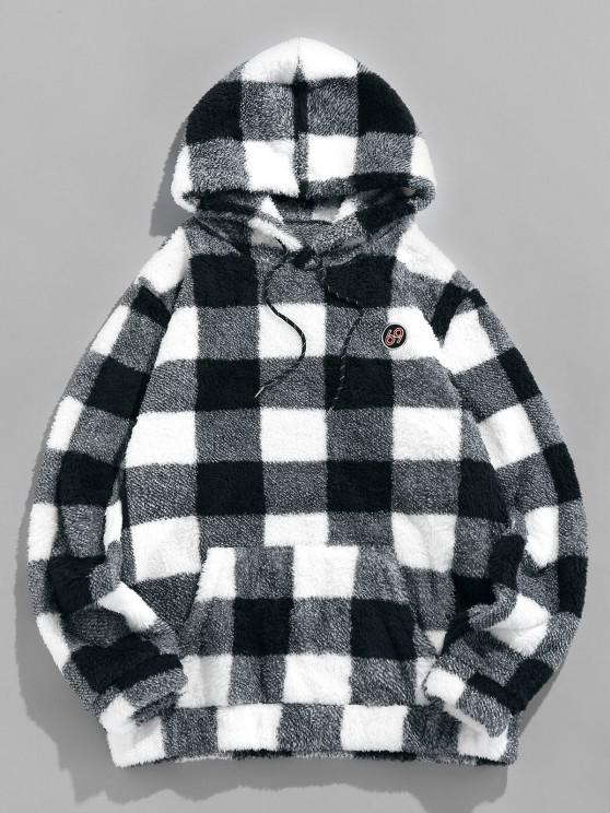 womens ZAFUL Plaid Print Sherpa Fleece Hoodie - BLACK S