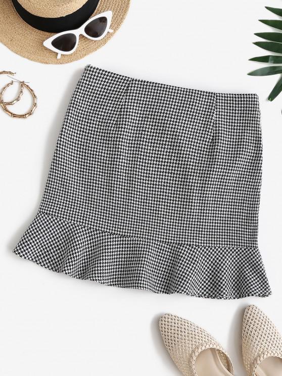 shop ZAFUL High Rise Houndstooth Mini Fishtail Skirt - MULTI-A M