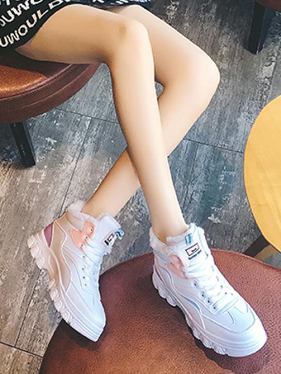 affordable Colorblock High Top Fleece Sneakers - PURPLE EU 37