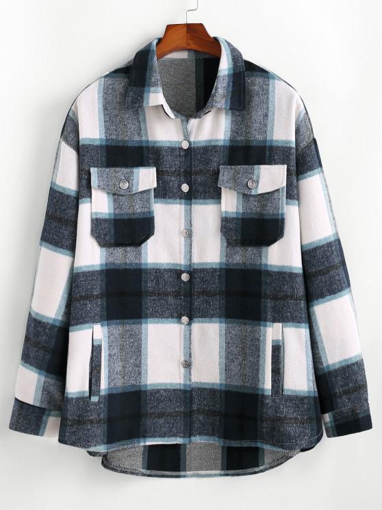 trendy Plaid Pattern Flap Pocket Shirt Jacket - BLUE M