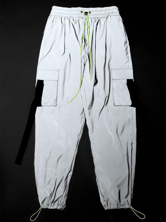 ZAFUL Toggle Drawstring Buckle Detail Luminous Cargo Pants - بلاتين L