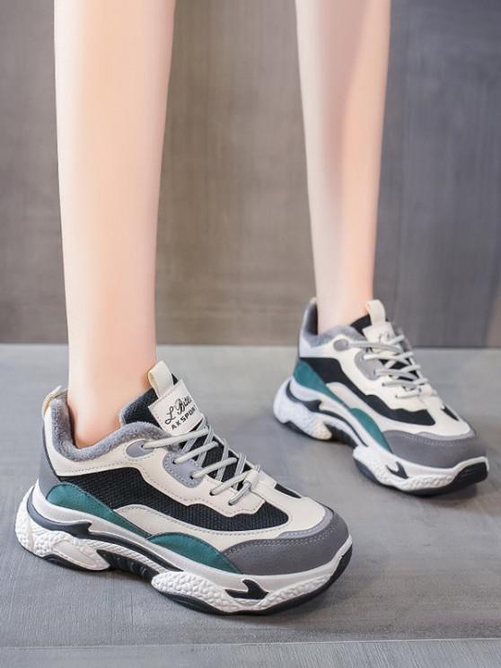women Colorblock Mesh Panel Fleece Sneakers - GREEN EU 40