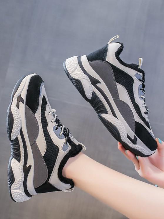lady Colorblock Mesh Panel Fleece Sneakers - GRAY EU 39