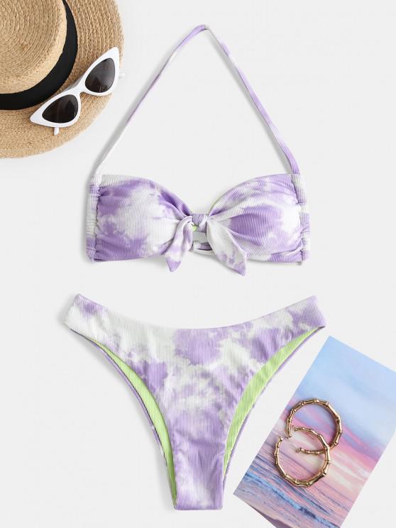 ZAFUL Halter Tie Dye Ribbed Knot Bikini Swimwear - ضوء ارجواني S