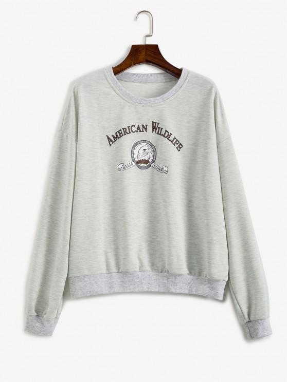 trendy Slogan Eagle Drop Shoulder Oversized Sweatshirt - GRAY S