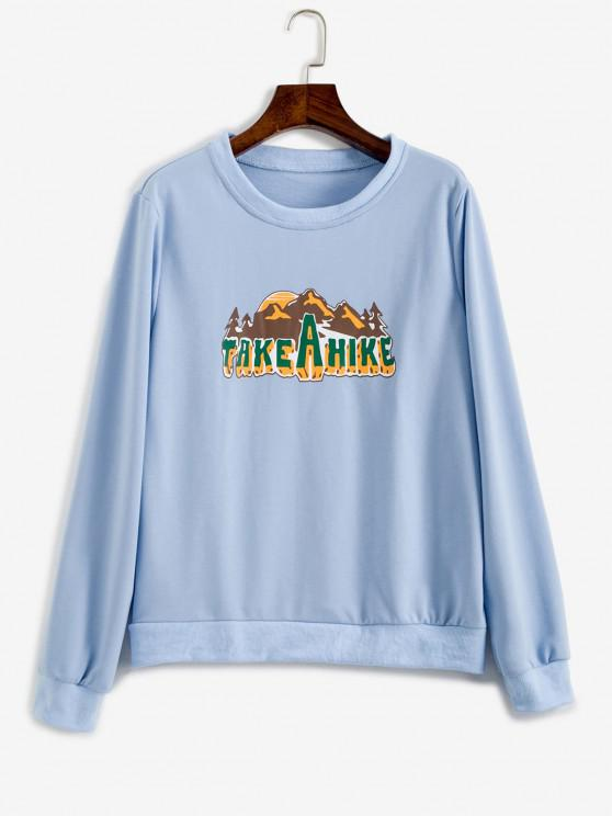 Take A Hike Graphic Pullover Sweatshirt - أزرق فاتح XS