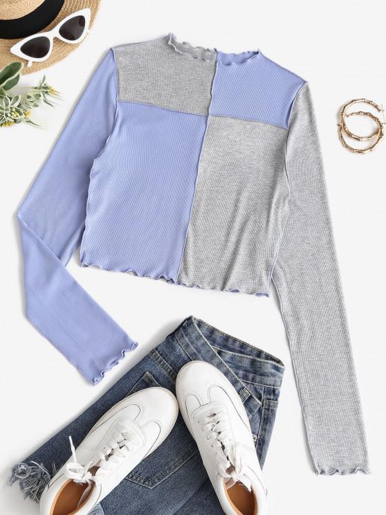 women ZAFUL Colorblock Topstitching Patchwork Cropped T Shirt - SKY BLUE M