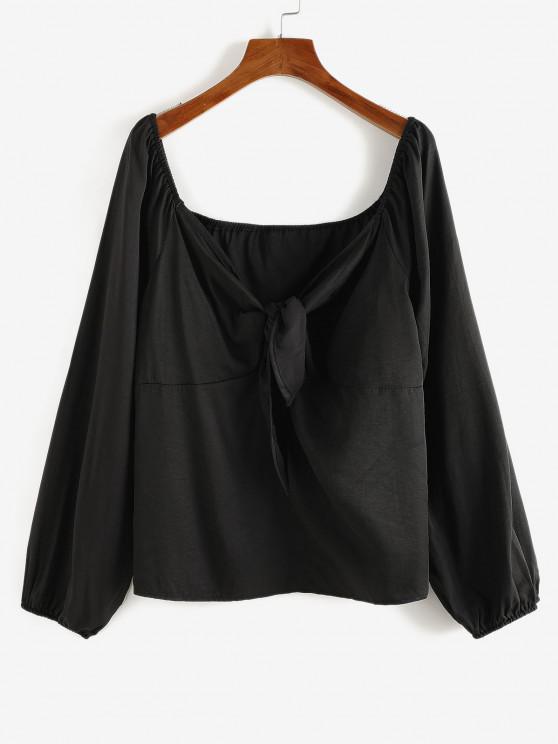 buy Plus Size Tied Raglan Sleeve Plunging Blouse - BLACK 1XL