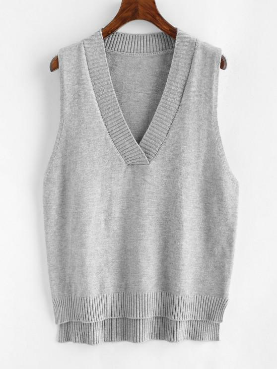 women's V Neck Slit High Low Sweater Vest - GRAY ONE SIZE