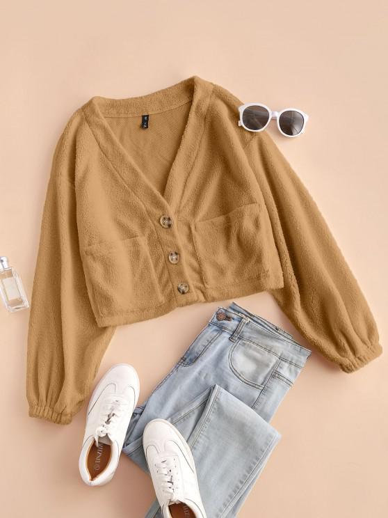 women ZAFUL Faux Fur Shearling Pocket Short Coat - CAMEL BROWN XL