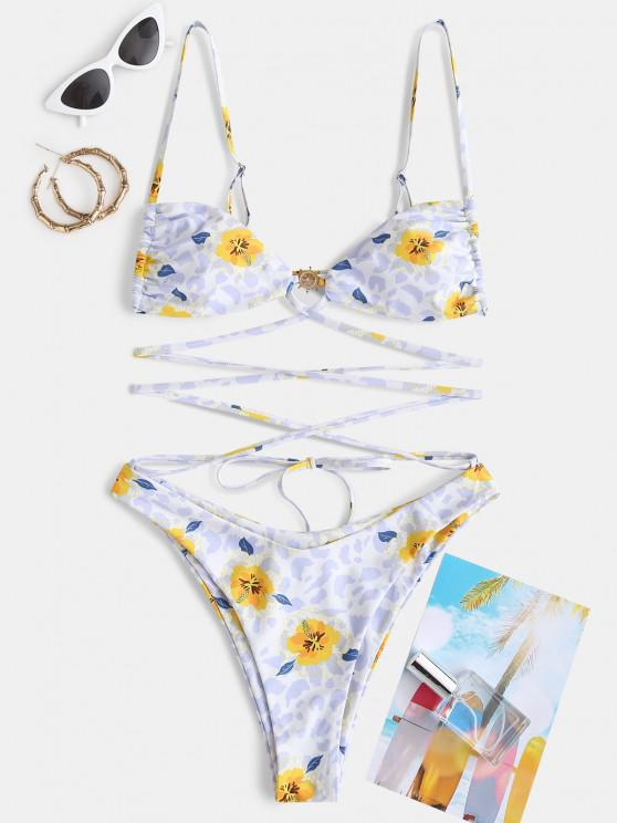 women ZAFUL Floral Mix Leopard Wrap-tie High Cut One-piece Swimsuit - YELLOW L