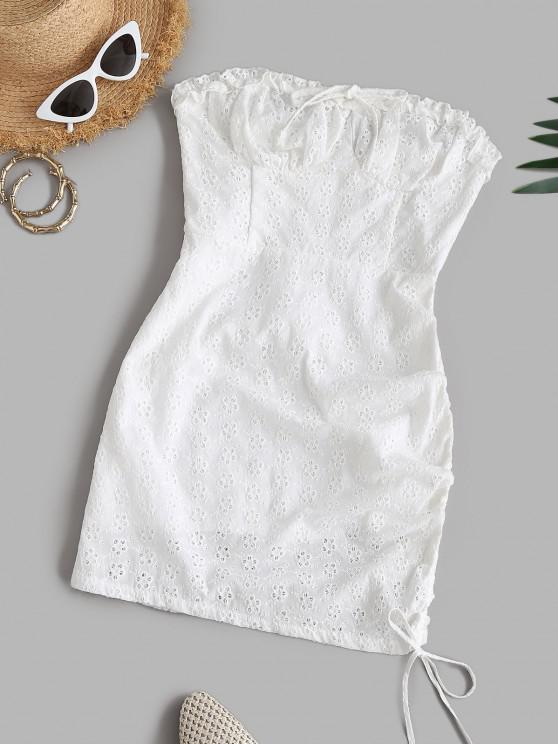 chic Broderie Anglaise Cinched Smocked Frilled Tube Dress - WHITE S