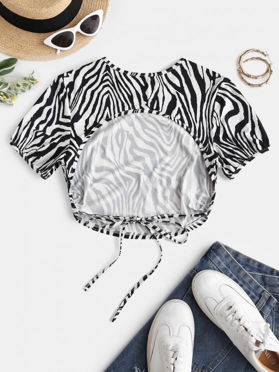 ladies ZAFUL Back Tie Zebra Print Open Back Tee - BLACK XL