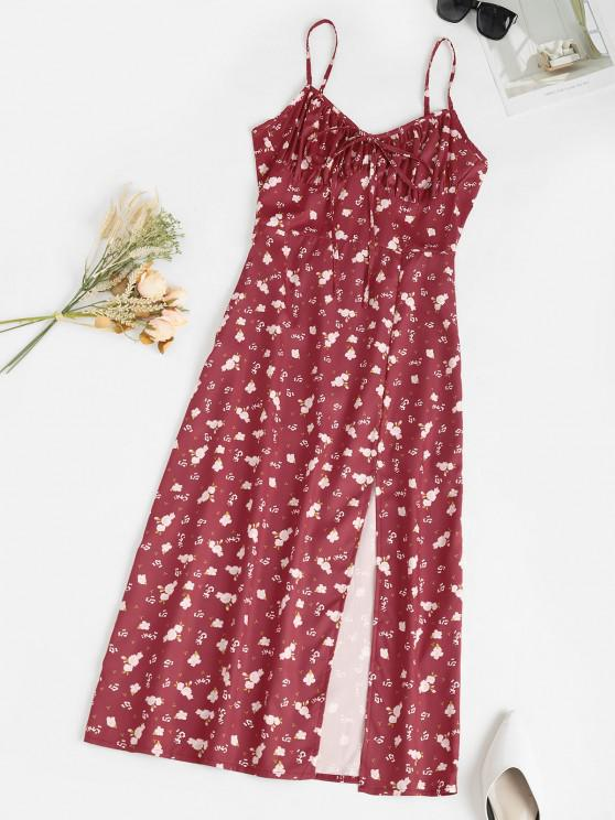 women's Spaghetti Strap Ditsy Print Slit Midaxi Bustier Dress - DEEP RED S