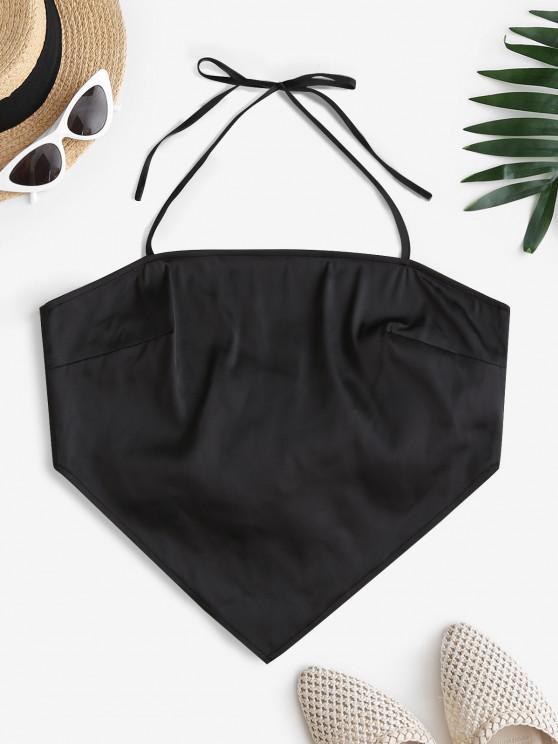 trendy ZAFUL Back Tie Halter Bandana Top - BLACK L