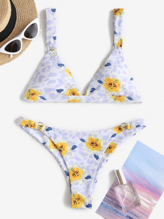 ZAFUL Floral Mix Leopard O-ring Bikini Swimwear - أزرق فاتح S