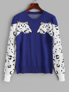Crew Neck Double Leopard Sweater - Blue S