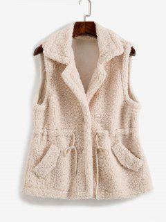 Manteau Teddy Taille à Cordon Avec Poche - Café Lumière