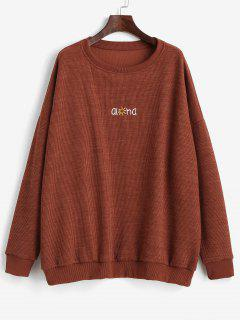 Letter Graphic Embroidered Drop Shoulder Sweatshirt - Brown L