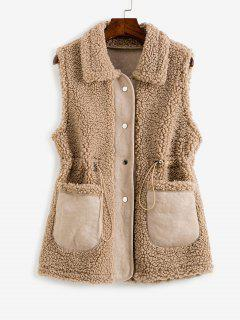 Faux Fur Suede Insert Pocket Drawstring Waist Gilet - Deep Coffee