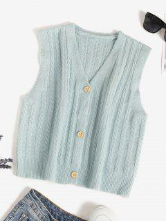 V Neck Button Up Cable Knit Cardigan Vest - Light Green