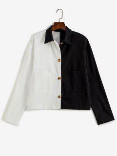 Button Up Pockets Two Tone Jacket - Black L
