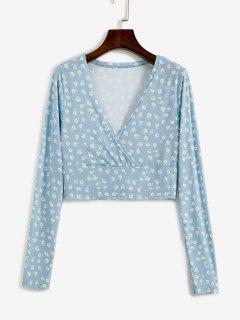 Ditsy Floral Ribbed Surplice Cropped Top - Light Blue L