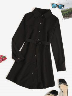 Belted Pocket Button Up Shirt Dress - Black M