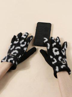 Buckle Leopard Print Fluffy Gloves - Black