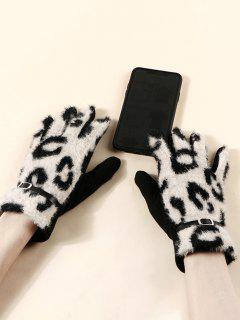 Buckle Leopard Print Fluffy Gloves - Beige