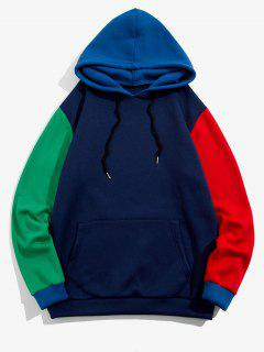 Kangaroo Pocket Contrast Fleece Hoodie - Deep Blue M