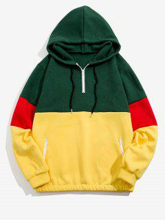 Quarter Zip Contrast Fleece Hoodie - Deep Green L