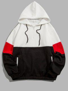 Quarter Zip Contrast Fleece Hoodie - White Xl