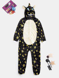 Plush Sun Moon Pattern Unicorn Costume Pajama Onesie - Yellow L
