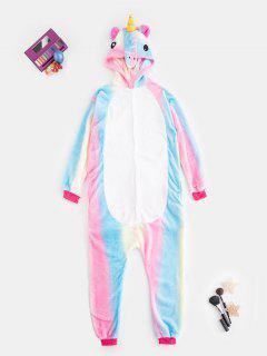 Plush Button Through Pocket Rainbow Unicorn Costume Pajama Onesie - Multi S