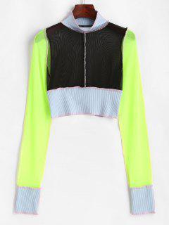 Mesh Ribbed Topstitching Colorblock Crop T Shirt - Black L