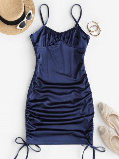Cinched Side Silky Bustier Slinky Dress - Deep Blue M