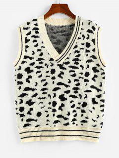 ZAFUL Leopard Striped V Neck Sweater Vest - Multi L
