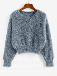 ZAFUL Fuzzy Plain Crop Jumper Sweater - Gray L