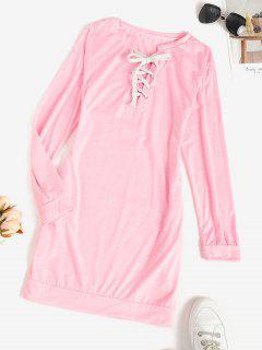 Lace-up Pocket Shift Sweatshirt Dress - Light Pink L