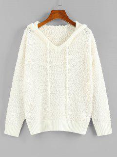 ZAFUL Boucle Knit Hooded Sweater - White M