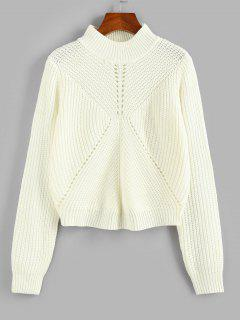 Pointelle Knit Mock Neck Sweater - White S