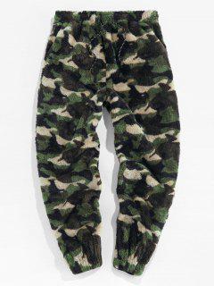 ZAFUL Leopard Pattern Faux Fur Fluffy Pants - Woodland Camouflage S