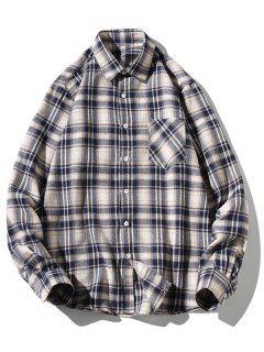 Turn-down Collar Button Up Plaid Shirt - White Xs