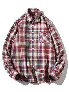 Turn-down Collar Button Up Plaid Shirt - Red Wine S
