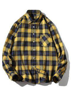 Chemise à Carreaux Boutonnée à Col Relevé - Jaune M